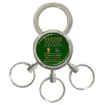 We Wish You A Metroid Christmas Ugly Holiday Christmas Green Background 3-Ring Key Chains Front