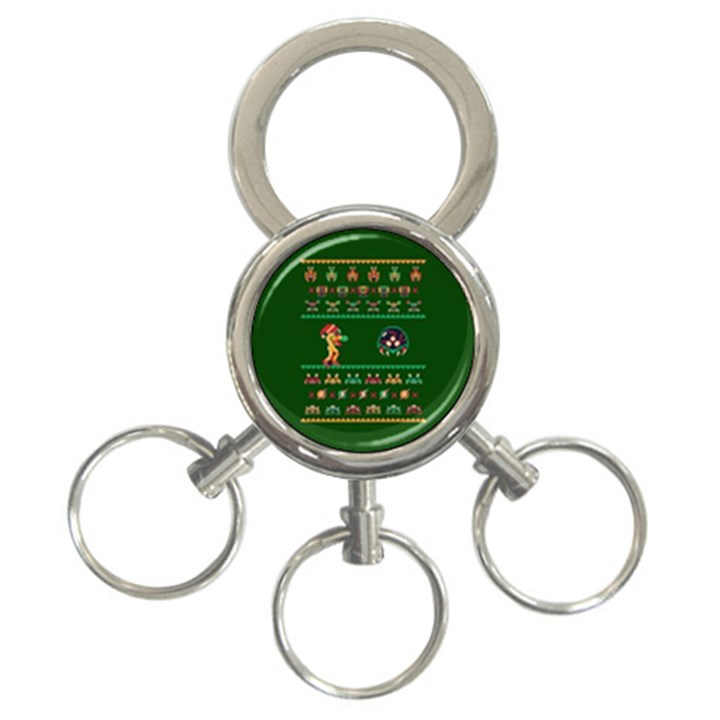 We Wish You A Metroid Christmas Ugly Holiday Christmas Green Background 3-Ring Key Chains