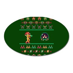 We Wish You A Metroid Christmas Ugly Holiday Christmas Green Background Oval Magnet