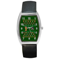 We Wish You A Metroid Christmas Ugly Holiday Christmas Green Background Barrel Style Metal Watch