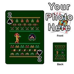We Wish You A Metroid Christmas Ugly Holiday Christmas Green Background Playing Cards 54 Designs
