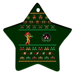 We Wish You A Metroid Christmas Ugly Holiday Christmas Green Background Star Ornament (two Sides)