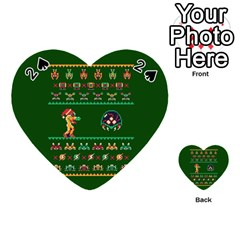 We Wish You A Metroid Christmas Ugly Holiday Christmas Green Background Playing Cards 54 (heart)