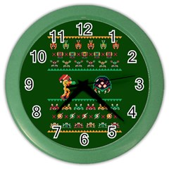 We Wish You A Metroid Christmas Ugly Holiday Christmas Green Background Color Wall Clocks