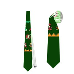 We Wish You A Metroid Christmas Ugly Holiday Christmas Green Background Neckties (Two Side)