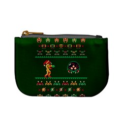 We Wish You A Metroid Christmas Ugly Holiday Christmas Green Background Mini Coin Purses