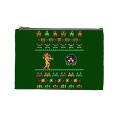 We Wish You A Metroid Christmas Ugly Holiday Christmas Green Background Cosmetic Bag (large)