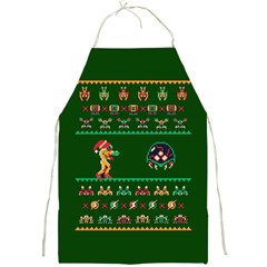 We Wish You A Metroid Christmas Ugly Holiday Christmas Green Background Full Print Aprons