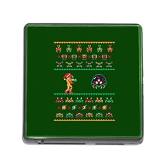 We Wish You A Metroid Christmas Ugly Holiday Christmas Green Background Memory Card Reader (square)