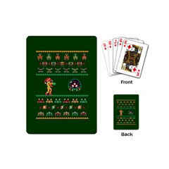 We Wish You A Metroid Christmas Ugly Holiday Christmas Green Background Playing Cards (mini)