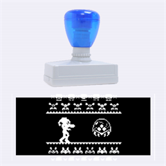 We Wish You A Metroid Christmas Ugly Holiday Christmas Green Background Rubber Stamps (large)
