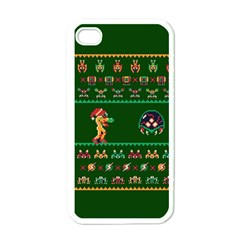 We Wish You A Metroid Christmas Ugly Holiday Christmas Green Background Apple Iphone 4 Case (white)