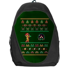 We Wish You A Metroid Christmas Ugly Holiday Christmas Green Background Backpack Bag