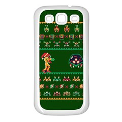 We Wish You A Metroid Christmas Ugly Holiday Christmas Green Background Samsung Galaxy S3 Back Case (white)