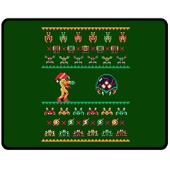 We Wish You A Metroid Christmas Ugly Holiday Christmas Green Background Double Sided Fleece Blanket (medium)