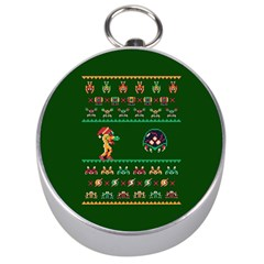 We Wish You A Metroid Christmas Ugly Holiday Christmas Green Background Silver Compasses