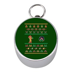 We Wish You A Metroid Christmas Ugly Holiday Christmas Green Background Mini Silver Compasses