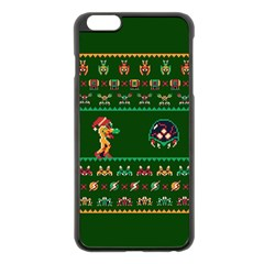 We Wish You A Metroid Christmas Ugly Holiday Christmas Green Background Apple Iphone 6 Plus/6s Plus Black Enamel Case