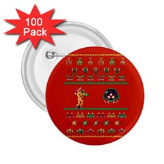 We Wish You A Metroid Christmas Ugly Holiday Christmas Red Background 2 25  Buttons (100 Pack)