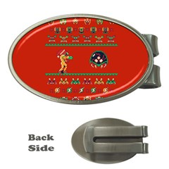 We Wish You A Metroid Christmas Ugly Holiday Christmas Red Background Money Clips (oval)