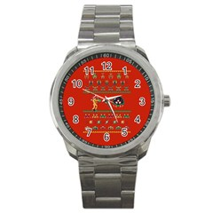 We Wish You A Metroid Christmas Ugly Holiday Christmas Red Background Sport Metal Watch
