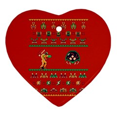 We Wish You A Metroid Christmas Ugly Holiday Christmas Red Background Heart Ornament (2 Sides)
