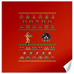 We Wish You A Metroid Christmas Ugly Holiday Christmas Red Background Canvas 20  X 20