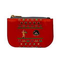 We Wish You A Metroid Christmas Ugly Holiday Christmas Red Background Mini Coin Purses