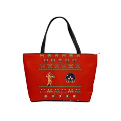 We Wish You A Metroid Christmas Ugly Holiday Christmas Red Background Shoulder Handbags