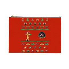 We Wish You A Metroid Christmas Ugly Holiday Christmas Red Background Cosmetic Bag (large)