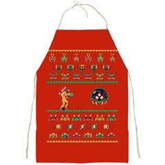 We Wish You A Metroid Christmas Ugly Holiday Christmas Red Background Full Print Aprons