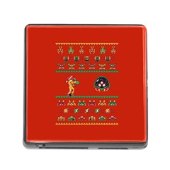 We Wish You A Metroid Christmas Ugly Holiday Christmas Red Background Memory Card Reader (square)