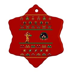 We Wish You A Metroid Christmas Ugly Holiday Christmas Red Background Ornament (snowflake)