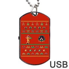 We Wish You A Metroid Christmas Ugly Holiday Christmas Red Background Dog Tag Usb Flash (two Sides)