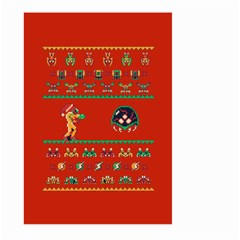 We Wish You A Metroid Christmas Ugly Holiday Christmas Red Background Large Garden Flag (two Sides)