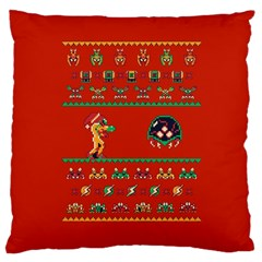 We Wish You A Metroid Christmas Ugly Holiday Christmas Red Background Large Cushion Case (one Side)