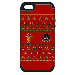 We Wish You A Metroid Christmas Ugly Holiday Christmas Red Background Apple Iphone 5 Hardshell Case (pc+silicone)
