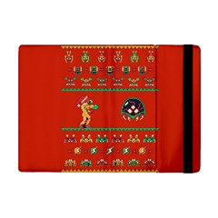 We Wish You A Metroid Christmas Ugly Holiday Christmas Red Background Apple Ipad Mini Flip Case