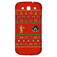 We Wish You A Metroid Christmas Ugly Holiday Christmas Red Background Samsung Galaxy S3 S Iii Classic Hardshell Back Case