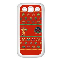 We Wish You A Metroid Christmas Ugly Holiday Christmas Red Background Samsung Galaxy S3 Back Case (white)