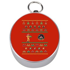 We Wish You A Metroid Christmas Ugly Holiday Christmas Red Background Silver Compasses