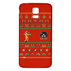 We Wish You A Metroid Christmas Ugly Holiday Christmas Red Background Samsung Galaxy S5 Back Case (white)