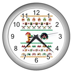 We Wish You A Metroid Christmas Ugly Holiday Christmas Wall Clocks (silver)