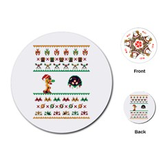 We Wish You A Metroid Christmas Ugly Holiday Christmas Playing Cards (round)