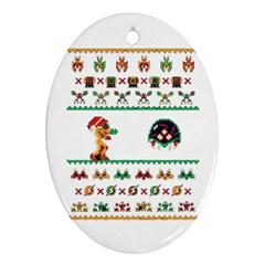 We Wish You A Metroid Christmas Ugly Holiday Christmas Oval Ornament (two Sides)