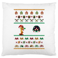 We Wish You A Metroid Christmas Ugly Holiday Christmas Large Cushion Case (two Sides)