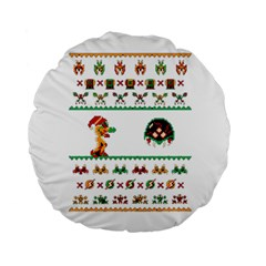 We Wish You A Metroid Christmas Ugly Holiday Christmas Standard 15  Premium Round Cushions