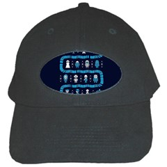 Who Is Outside Ugly Holiday Christmas Blue Background Black Cap