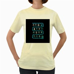 Who Is Outside Ugly Holiday Christmas Blue Background Women s Yellow T Shirt