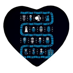 Who Is Outside Ugly Holiday Christmas Blue Background Heart Ornament (2 Sides)